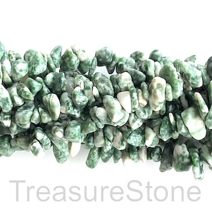 Bead, Green Spot Jasper, chips. 35 inch.