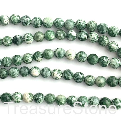 Bead, Green Spot Jasper, 8mm round. 15 inch, 46pcs.