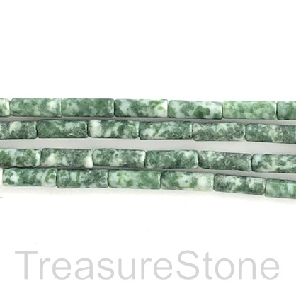 Bead, Green Spot Jasper, 4x13mm tube. 15.5 inch, 32pcs.