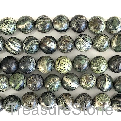 Bead, Green Zebra Jasper, 8mm round. 15.5-inch, 48pcs