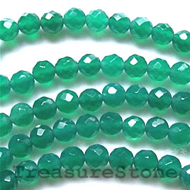 Bead, emerald agate(dyed), faceted round, 6mm, 16-inch strand