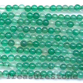 Bead, green agate(dyed), 2mm, 16-inch strand