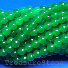 Bead, jade (dyed), emerald, 8mm round, 16-inch strand.