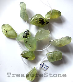 Bead/pendant, prehnite, 22x30mm freeform. Pkg of 10.