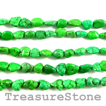 Bead, Green turquoise (natural), about 11mm nugget. 16-inch