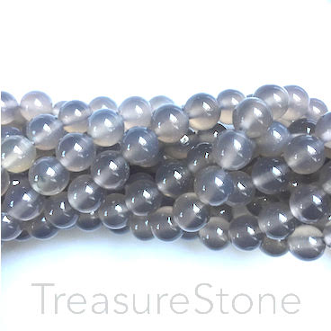 Bead, Grey agate, 6mm round. 15.5 inch, 65pcs
