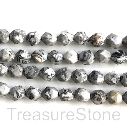 "Bead, grey leopard skin jasp, 7x8mm faceted, star cut.15"", 46pcs"