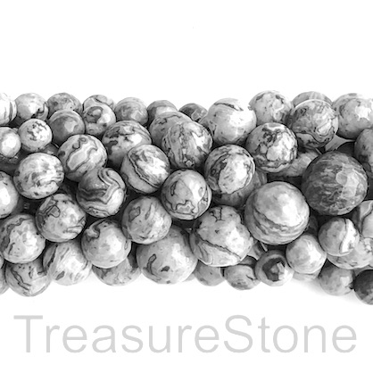 "Bead, grey leopard skin jasper, 8mm faceted round. 15"". 47pcs"