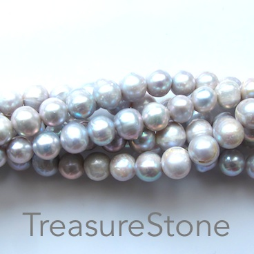 Pearl, freshwater(dyed), grey, 10mm potato. B- grade. 15.5-inch.