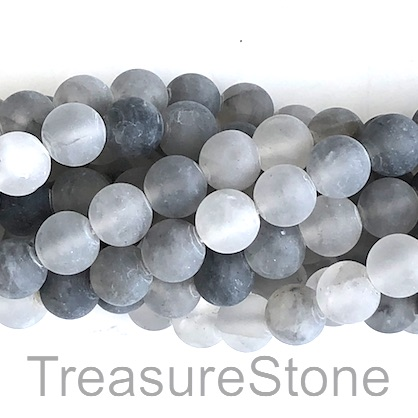 Bead, grey quartz, 8mm round matt. 15-inch, 47pcs.