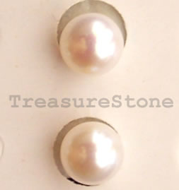 Pearl, freshwater, white, half-drilled round. Pkg of 2.