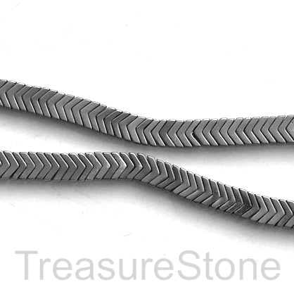 Bead, hematite, 1.5x6mm arrowhead, grey matte. 16-inch