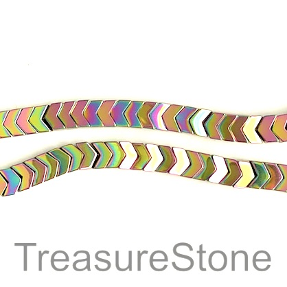 Bead, hematite, 3x8mm arrowhead, rainbow color. 15-inch