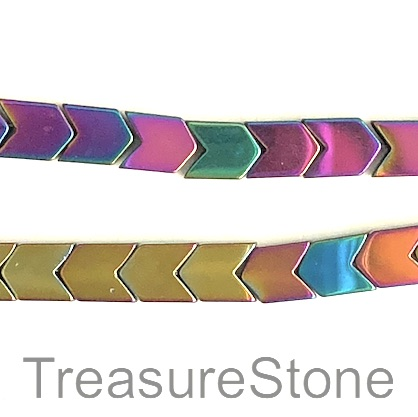Bead, hematite, 6mm arrowhead, rainbow color. 16-inch, 65pcs