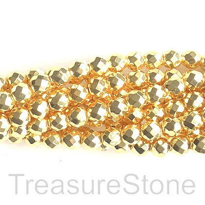Bead, hematite, bright gold, 6mm faceted round. 15.5-inch. 66pcs
