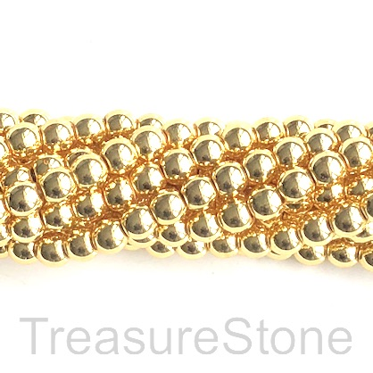 Bead, hematite, bright gold, 4mm round. 16-inch. 106pcs