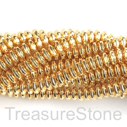 Bead, hematite, bright gold, 3x6mm disk. 15.5-inch. 68pcs