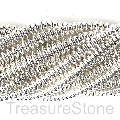 Bead, hematite, bright silver, 4mm disc. 16-inch.