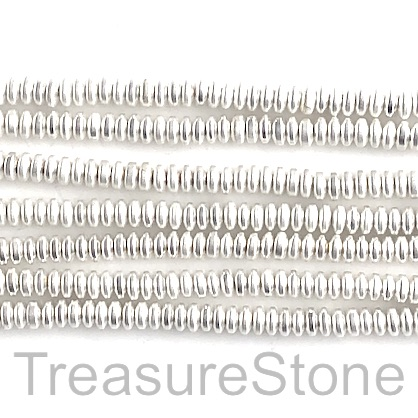 Bead, hematite, bright silver, matte, 4mm disc. 16-inch.