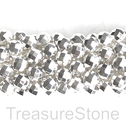 Bead, hematite, bright silver, 4mm faceted round. 16-inch. 99pcs