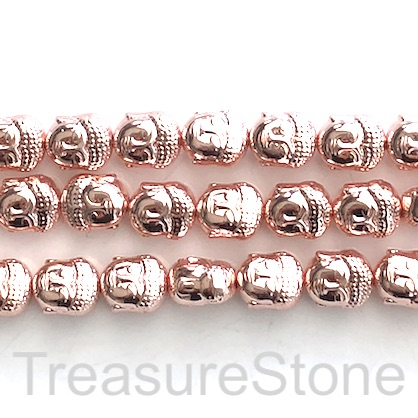 Bead, hematite, 9x10mm Buddha head, rose gold. 16-inch, 39pcs