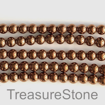 Bead, hematite (manmade), copper, 8mm round. 15.5-inch, 50pcs