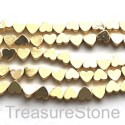 "Bead, hematite, cross drilled flat heart, 6mm, gold. 15"", 66pcs"