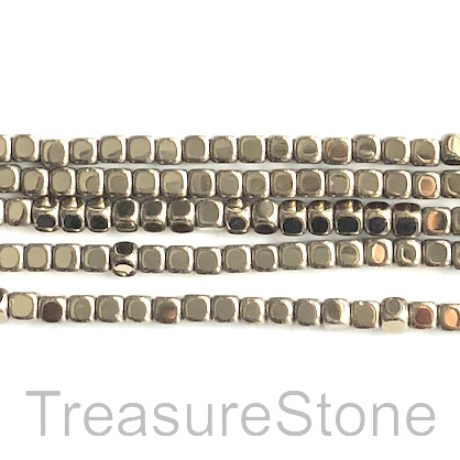 Bead, hematite, pyrite gold, 4mm cube. 15-inch.