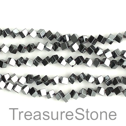 Bead, hematite (manmade), 6mm diamond. 16-inch, 75pcs