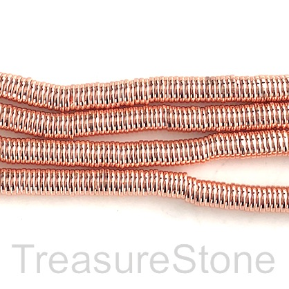 Bead, hematite (manmade), 1x6mm disc, rose gold. 15.5-inch.