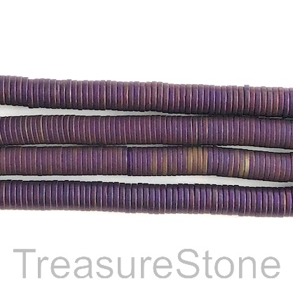 Bead, hematite (manmade), 1x6mm disc, purple matte. 15.5-inch.