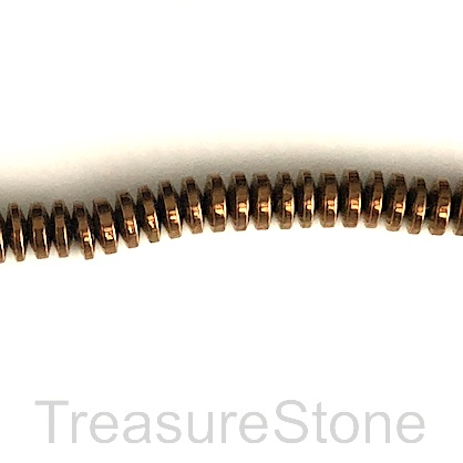 Bead, hematite (manmade), 1x4mm disk, copper. 16-inch.