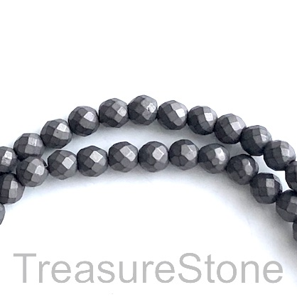 Bead, hematite, 8mm faceted round,dark grey. 15.5-inch, 49pcs