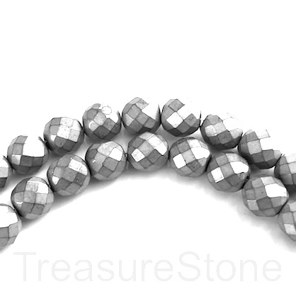 Bead, hematite (manmade), 4mm faceted round, grey. 16-inch