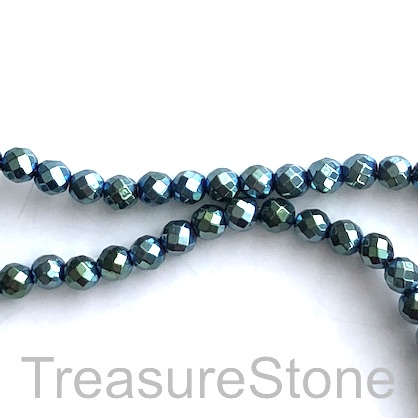 Bead, hematite (manmade), 4mm faceted round, peacock. 16-inch