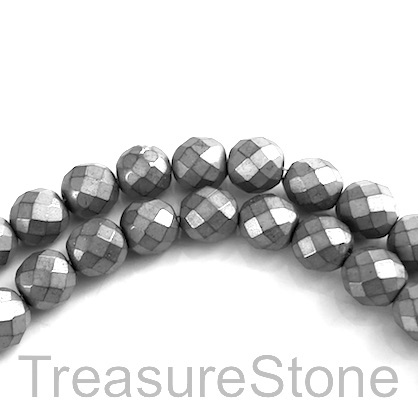 Bead, hematite (manmade), 6mm faceted round, grey. 15.5-inch