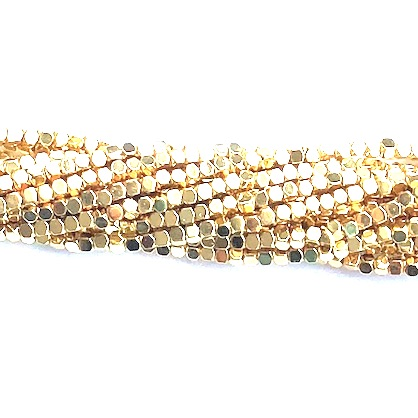 Bead, hematite, bright gold, 2mm faceted cube 1. 16-inch