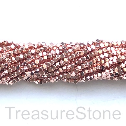 Bead, hematite, rose gold, 2mm faceted cube 2. 16-inch