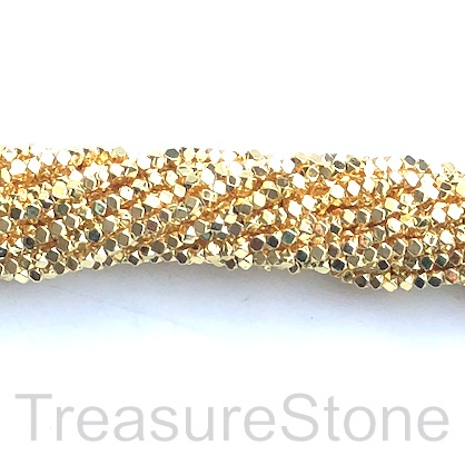 Bead, hematite, bright gold, 2mm faceted cube 2. 16-inch