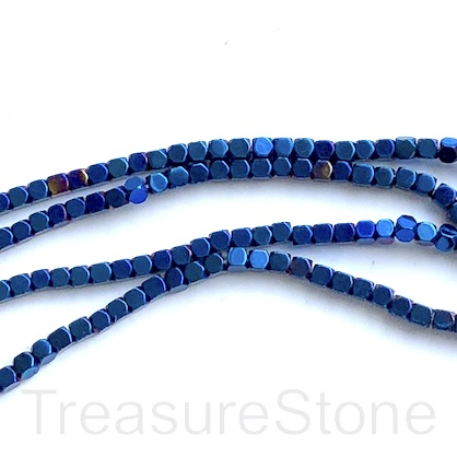 Bead, hematite, royal blue, 2mm faceted cube 1. 15-inch
