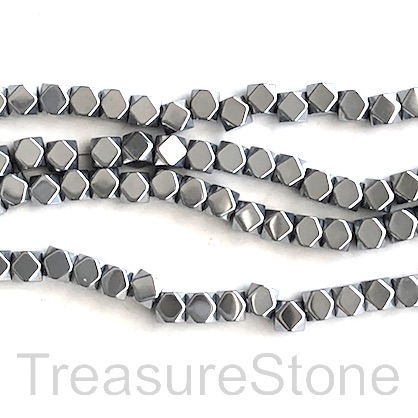 "Bead,hematite,4mm faceted cube, large hole,2.5mm rhodium.16"", 95"