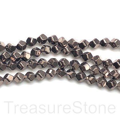 "Bead, hematite, 6mm faceted nugget, chocolate. 15.5"", 62pcs"
