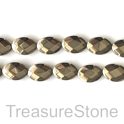 Bead, hematite, 10x16mm faceted oval, pyrite gold. 16inch, 29pcs