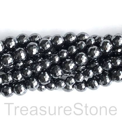 Bead, hematite, 8mm faceted round. 15.5-inch, 49pcs