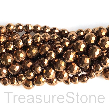 Bead, hematite, 6mm faceted round, copper. 15.5-inch, 70pcs
