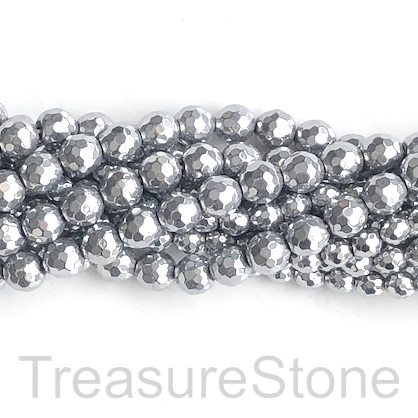 Bead, hematite, 10mm faceted round, rhodium silver. 15', 42pcs