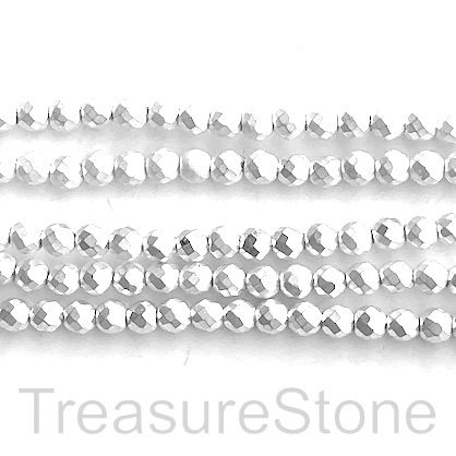 "Bead, hematite, silver matte, 4mm faceted round. 16"". 100pcs"
