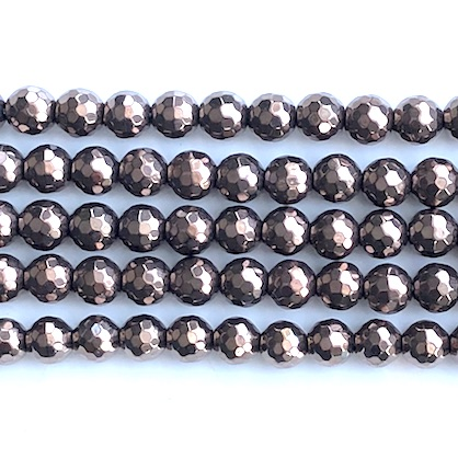 Bead, hematite, 8mm faceted round, chocolate. 15inch, 48pcs