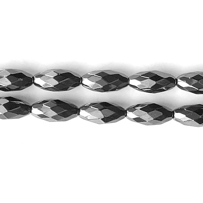 Bead, hematite (manmade), 8x16mm faceted rice. 16-inch, 25pcs