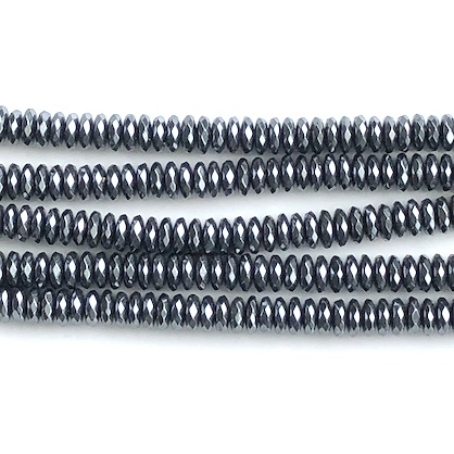 Bead, hematite, 2x6mm faceted rondelle. 15.5-inch, 170pcs